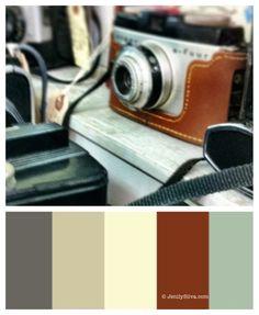 Vintage camera collection, brown color palette, good for a little boys room, Reddish color would maybe go with basement tile? Paint Color Palettes, Colour Pallette, Paint Colours, Beautiful Color Combinations, Color Combos, Color Schemes, Vintage Colour Palette, Vintage Colors, Pantone 2016