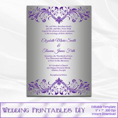DIY purple and silver foil wedding invitation template comes as an editable and high-quality (300dpi) file for perfect printing results at
