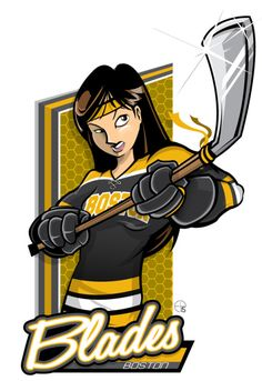 This season, our good friend Eric Poole has expanded his repertoire to include Canadian Women's Hockey League teams. This is the Boston Blades. Dek Hockey, Women's Hockey, Hockey Girls, Funny Hockey, Hockey Stuff, Nhl Logos, Hockey Logos, Sports Logos, Hockey Rules
