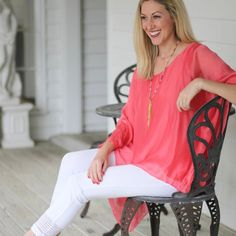 We're sailing through a little spring sun hiatus but looking forward to warm weekend weather!  Shop our colorful coral top that was made for your white skinnies! {A one size top we love!!} #tfssi #stsimonsisland #seaisland #goldenisles #style #fashion #pursuepretty #theeverygirl #flashesofdelight #coral #color #colorsplash #shoplocal #shopgoldenisles