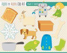 Vowel Sounds 'O' Clip Art - color and outlines $