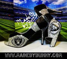 handmade Oakland Raiders Glitter & Crystal Rhinestone Bling Sports Heels
