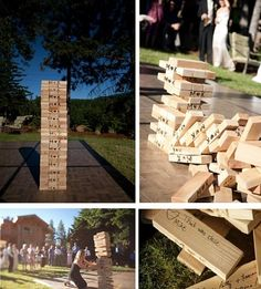giant jenga at at the wedding @Allison Bindel can you imagine how much more fun this would be!!!!