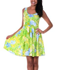Take+a+look+at+the+Yellow+&+Green+Floral+Skater+Dress+on+#zulily+today!