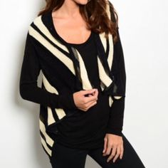 """BLACK TAUPE VEST SWEATER This adorable knit vest features striped print and an open front and has a trapeze fit. Precious!!  50% rayon 30% acrylic 20% nylon. L25"""" B18"""" W18"""" in size Small.  S (2) M (2) L (2) Allow me to make a listing for you rather than using the bundle feature. No PayPal or trades. No places that begin with M. All sales final.  Lavender Blue Days Jackets & Coats Vests"""