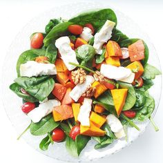 """""""HAPPY HALLOWEEN! Today my friends and I had this pumpkin salad for lunch! So yummy!! Cold, warm, savoury and sweet! Spinach with roasted pumpkin, roasted…"""""""