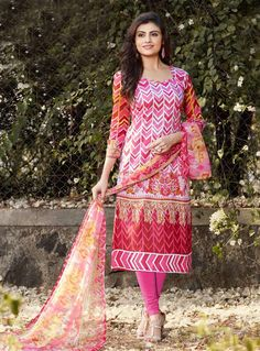 Pink Cotton Churidar Salwar Suit 86094