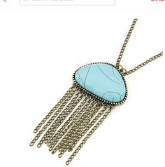 Collier 2017 Fashion Long Chain Necklace Vintage Retro Pendants Necklaces for Women Statement Tassels Jewlery Jewelry Show, Tassel Jewelry, Trendy Jewelry, Jewlery, Fringe Necklace, Long Chain Necklace, Pendant Necklace, Vintage Turquoise, Turquoise Color