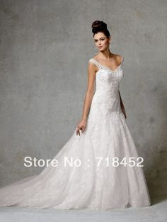 Vintage Lace Wedding Dress Spaghetti Straps A Line Sweetheart Lace Up Back Long Train Free Shipping NW214