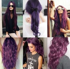 Shades of purple wish I could have this--yep I'm about ready to have fun hair again.... This boring stuff.... is killing me
