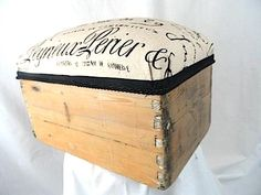 Text upholstered apple crate