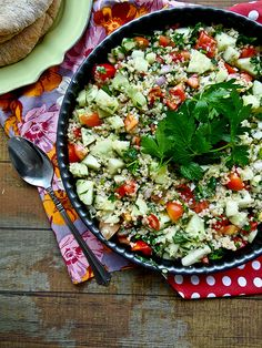 Summer tabboli with fresh herbs, done chunky style.