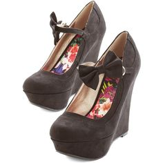 Bow the Distance Wedge by ModCloth (340 ARS) ❤ liked on Polyvore featuring shoes, wedges, heels, black, mary jane heel, mary jane platform shoes, black bow shoes, wedge heeled shoes, retro shoes and platform wedge shoes