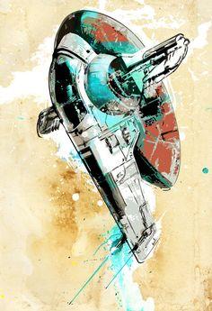 Star Wars Boba Fett Slave 1 spaceship illustration - Poster size Art print on Canvas size 18x24. $100.00, via Etsy.