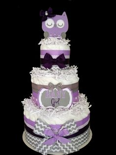 Chevron Purple Lavender and Gray Owl Diaper Cake Baby Shower Centerpiece. Katie you are getting this at your baby shower Diaper Shower, Baby Shower Diapers, Baby Shower Cakes, Baby Shower Parties, Baby Shower Themes, Baby Shower Gifts, Baby Gifts, Shower Ideas, Owl Diaper Cakes