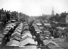 A packed market place in Great Yarmouth