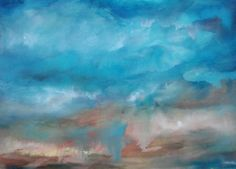Abstract  Art  Modern  original  Watercolor painting  Large  Skies Original   22 X 30 signed framed. $160.00, via Etsy.