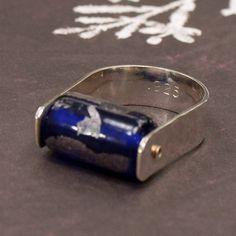 Cobalt Blue U Ring in Hammered Sterling Silver Size 7. $35.00, via Etsy.