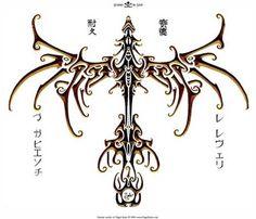 Tribal dragon back design