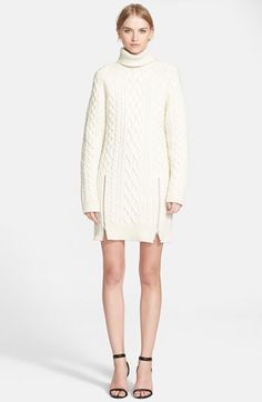 Free shipping and returns on Alexander Wang Zip Turtleneck Sweater Dress at Nordstrom.com. Toying with classic proportions, Alexander Wang offers a fresh take on your favorite fisherman's sweater in the form of a turtleneck dress knit from snow-white wool and accented with a pair of modern zipped slits.