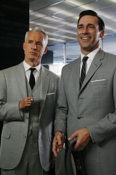 Roger Sterling & Don Draper. Forever gentleman, in grey suits with skinny ties and perfectly slicked back hair. Accessorize with a fedora and a cigarette...