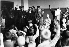 Hitler being greeted by a class of children - 1936. Corruption of the young