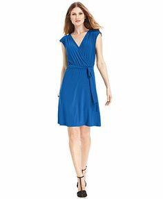 NY Collection Dress, Cap-Sleeve Belted A-Line. Easy, cool, and still professional.