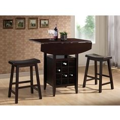Found it at Wayfair - Wholesale Interiors Baxton Studio Reynolds Modern Drop-Leaf Pub Set Pub Table And Stools, Tall Dining Table, Pub Stools, Pub Table Sets, Counter Height Table, Dining Room Table, Pub Tables, Small Dining, Bistro Tables