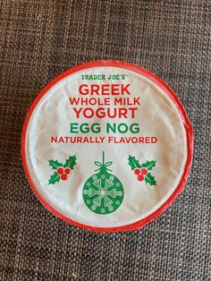 Trader Joe's Greek Whole Milk Eggnog Yogurt Review - Just as Trader Joe's is mopping up the last of the Pumpkin Spice products, they are rushing to back fill with peppermint and eggnog. You know it's Christmas season when Eggnog and peppermint infuses the air. I love the smell of eggnog in the morning...   #christmas #eggnog #traderjoes #xmas #yogurt Trader Joe's, Xmas, Christmas, Pumpkin Spice, Peppermint, Yogurt, Fill, Greek, Vegetarian