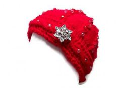 Red Beanie - Beaded Embellishment Done With Clear Beads, Light Pink Beads And Dark Pink Beads by Studio5T2 for $35.00. #Zibbet