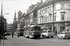 Štefánikova ulica smerom na Hlavnú stanicu Bratislava, Old Street, Public Transport, Prague, Old Photos, Transportation, Street View, Squares, Times