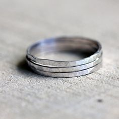 Stacking rings hammered sterling silver stacking by PraxisJewelry