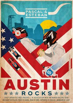 Retro poster design for Manor Racing F1 team. I have made this illustration for the Grand Prix of Austin (USA). A collaboration with Just Racing Limited Ltd.