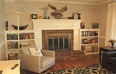 Bookshelves Next To Fireplace