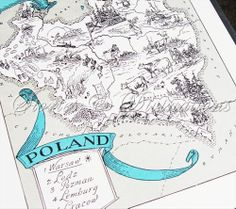 Map of Poland - Vintage Map of Poland - A Fun and Funky Little 1930s Vintage Picture Map to Frame