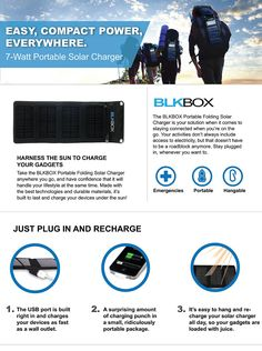 BLKBOX 7W Portable Folding Solar Charger Kit