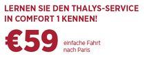 Bahnticket ab 59 € in Comfort 1 mit Thalys