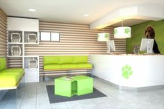 Like the benches, the nice lines, the color scheme is all ri Dog Grooming Shop, Dog Grooming Business, Clinic Interior Design, Clinic Design, Hotel Pet, Waiting Room Design, Sims Pets, Cabinet Medical, Vet Office