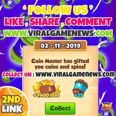 coin master spin is the best game to enjoy with friends but you need daily spins and coins to complete your level. coins master free spin is here to give you daily spins link 2019 to get more than 50 spins in one day. Daily Rewards, Free Rewards, Lotto Winning Numbers, Coin Master Hack, Miss You Gifts, Celebration Day, What's The Point, Best Games, Free Games
