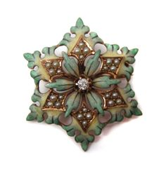Antique gold diamond, pearl and enamel brooch formed as a snowflake, American, c.1880.