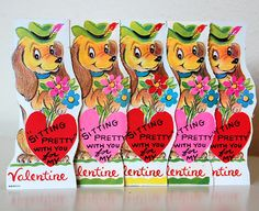 Vintage Retro 1960s Valentines Doxie Dachshund Unused set of 5. $2.50, via Etsy.