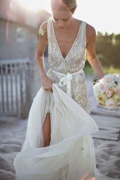 A sequin wedding dress is great for many wedding styles and themes and will make your outfit glam and shiny. Sequin Wedding, Wedding Bells, Sparkle Wedding, 2015 Wedding Dresses, Wedding Gowns, Wedding 2015, Summer Wedding, Wedding Ceremony, Wrap Wedding Dress