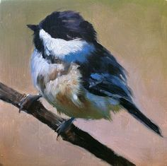 Baby Black-capped Chickadee - Bird Painting - Open Edition Print of Original Oil…