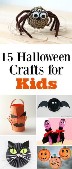 15 Adorable Halloween Crafts for Kids - manualidades - Halloween Spooky Halloween Crafts, Theme Halloween, Halloween Birthday, Halloween Activities, Holidays Halloween, Halloween Treats, Halloween Projects, Fall Crafts For Kids, Toddler Crafts