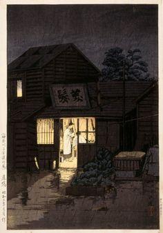 Barber's Shop in Kanagawa , Rainy Night - Ishiwata Koitsu, 1931 Japanese, 1897 - 1987 Colour woodblock
