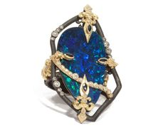 MN opal Boulder ring with white diamonds and blue sapphires by Armenta