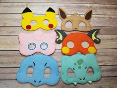 This listing is for 10 Pokemon themed masks All 10 masks shown in the picture above are included    This hand crafted mask is made from high quality felt and is very durable.