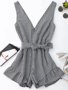$15.49 Checked Plunge Romper - BLACK S