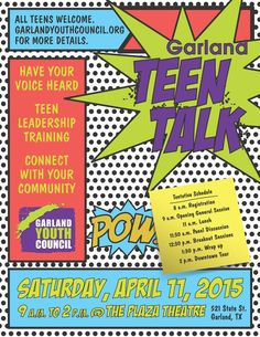 The Garland Youth Council (GYC) will host its annual Garland Teen Talk event from 9 a.m. to 2 p.m. Saturday, April 11, at the Plaza Theatre in Downtown Garland. Garland youth will have an opportunity to learn about City government, provide insight on what they like best about Garland, and share where they see opportunities for improvement. This free event is open to youth in grades 9 through 12, and registration is required to attend. Register today!