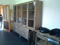 Vitrine,... glass cabinet, cleer kast from reclaimed teak wood
